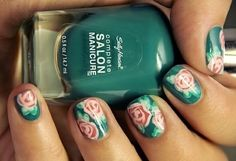 If you want simple or easy freehand nail art designs then look no further. We have the best freehand nail art pictures and designs to get fabulous nails Rose Nail Design, Rose Nail Art, Butterfly Nail Art, Rose Nails, Flower Nails, Nails Design, Cute Nail Art Designs, New Nail Colors, Nail Mania