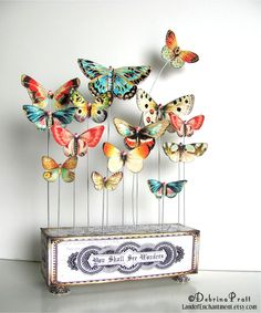 Butterfly Art Vintage Paper Collage original altered art block whimsical nature butterfly wings Collection Swarovski rhinestones. $58.00, via Etsy.