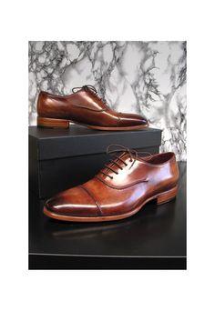 Paul Parkman Men's Captoe Oxfords Brown Hand Painted Shoes | parkmoda | ASOS Marketplace