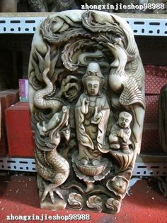 China Rare Classical White Jade Stone Dragon Phoenix Kwan-Yin Boy Buddha statue