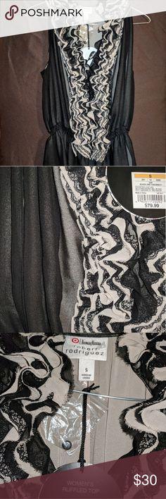 Neiman Marcus for Target ruffled sleeveless top NWT, two tone (black and cream) sleeveless ruffled blouse. Neiman Marcus for Target, size Small. Neiman Marcus Tops Blouses
