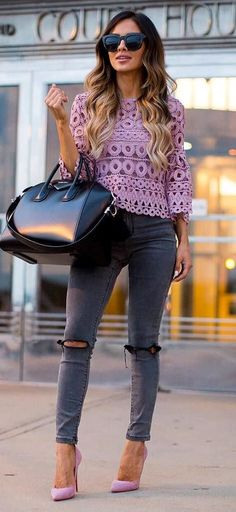 pretty cool office style: rips + heels + bag + top