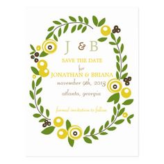 Yellow Fall Floral Save the Date Postcards