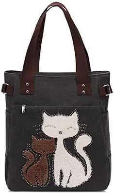 Amazon.co.uk: tote bags for women - £17 - £40: Shoes & Bags Big Tote Bags, Cat Pattern, Pattern Design, Canvas Handbags, Casual Bags, Retro, Army Green, Simple, Reusable Tote Bags