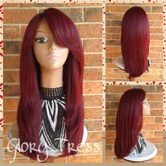 On Long & Straight Lace Front Wig 100 Human Hair Blend Wig Red Wine... ($135) ❤ liked on Polyvore featuring beauty products, haircare, hair styling tools, hair, hairstyles, bath & beauty, grey, hair care, wigs and flat iron