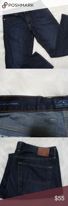 Lucky Brand 361 Vintage Straight blue jeans 36x34 In great condition dark blue jeans from Lucky.  Straight design.  Simple staple in anyone's closet from a trusted stylish name. Lucky Brand Jeans Straight