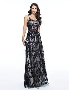 TS Couture® Evento Formal Vestido - Espalda Bonita Estilo de Celebridad Funda / Columna Tirantes Spaghetti Hasta el Suelo Tul conCuentas