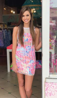 14fec80c70 Lilly Pulitzer Spring 2017 Dee Shift Geo Lattice Lace $228 Cute Summer Tops,  Teen Girl