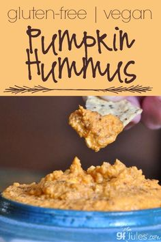 This vegan, gluten free pumpkin hummus is an interesting take on classic hummus. Gluten Free Party Food, Gluten Free Appetizers, Gluten Free Snacks, Appetizer Recipes, Snack Recipes, Dessert Recipes, Healthy Snacks, Vegetarian Appetizers, Dinner Recipes