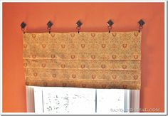 What  about  faux roman shade  Not the hooks.  Put it closer to ceiling.  playroom  bedroom ?
