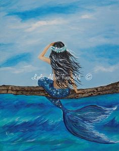 Mermaid Painting SALE Original Canvas  by LeslieAllenFineArt, $135.00