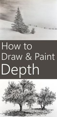 15 techniques to add depth to a painting. How to create the illusion of depth when painting or drawing on a 2D surface. Including tree drawing and sketching examples with pen and ink. Tree Drawings, Drawing Trees, Painting Trees, Pencil Drawings, Painting & Drawing, Pencil Art, Acrylic Painting Tips, Watercolor Painting Tutorials, Diy Painting
