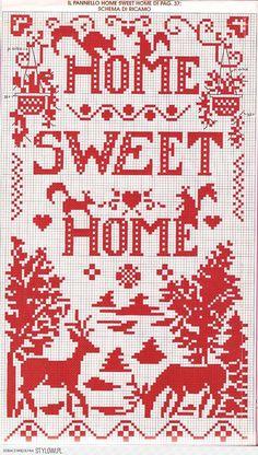 obraz / dekoracja / haft krzyżykowy / home sweet home na Stylowi.pl