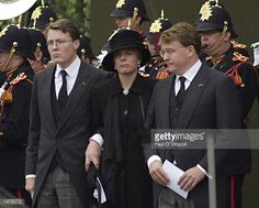 Prince Constantijn his wife Laurentine and brother Prince JohanFriso leave the funeral of their father Prince Claus October 15 2002 in Delft...