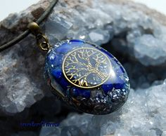 Tree of Life orgonite Pendant with real Lapis Lazuli Necklace