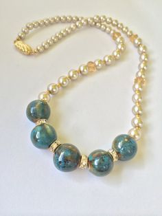 Teal Porcelain Beaded Pearl Necklace by KellyKarin on Etsy, $24.99