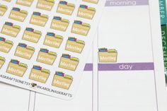 This set will include 24 Meeting Folder stickers that look great in the weekly boxes of the erin condren life planner or the plum paper planner