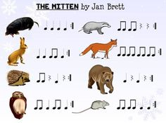 One of my absolute favorite lessons each year goes along with the children's book, The Mitten , by Jan Brett. I got this idea from my m. Elementary Music Lessons, Music Lessons For Kids, Music Lesson Plans, Music For Kids, Fun Music, Elementary Schools, Piano Lessons, Music Games, Preschool Music