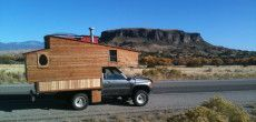 DIY Truck Camper Made From Reclaimed Materials Used As Mobile Ski Chalet