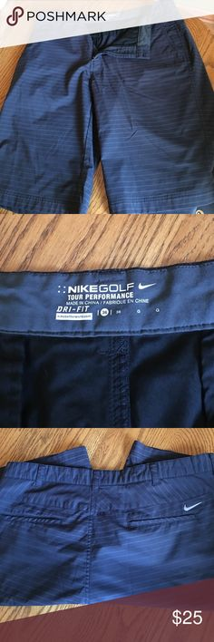 "Nike golf shorts 36 Nike golf shorts size 36.  Tour Performance Dri-Fit. Black with charcoal stripes. 11"" inseam. Nike Shorts Athletic"