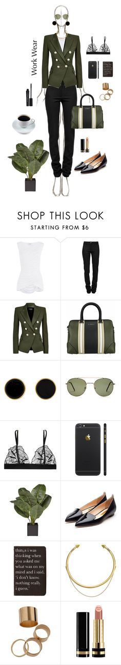 """""""Angie"""" by fawn-fleur ❤ liked on Polyvore featuring Bailey 44, Ann Demeulemeester, Balmain, Givenchy, Forever 21, Commando, Rupert Sanderson, Moleskine, OBEY Clothing and Gucci"""