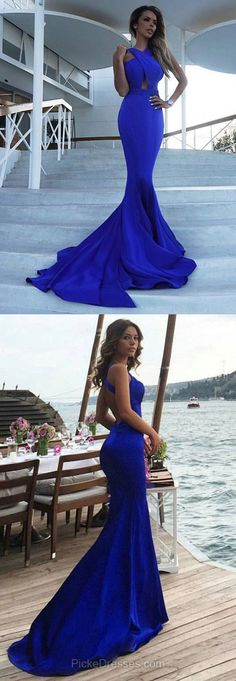 Blue Prom Dresses, Long Prom Dresses, 2018 Prom Dresses For Teens, Trumpet/Mermaid Prom Dresses Scoop Neck, Silk-like Satin Prom Dresses Draped