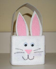 Preschool Crafts for Kids*: Recycled Easter Bunny Basket Craft Kids Crafts, Bunny Crafts, Family Crafts, Preschool Crafts, Felt Crafts, Easter Activities For Toddlers, Easter Baskets To Make, Deco Kids, Basket Crafts