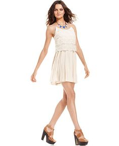 Kensie Dress, Sleeveless Scoop-Neck Crochet-Lace A-Line