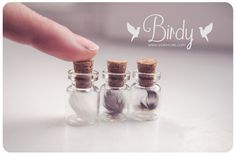 Tiny Feather fles ketting glas vial halsketting schattige