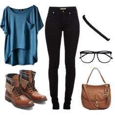 loose shirt, black pants and brown boots love it!!