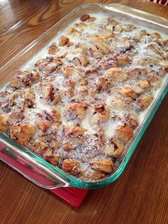 We eat this every year for Christmas morning. Cinnamon Roll casserole with Pillsbury cinnamon rolls. So easy and SO good.