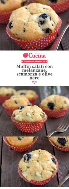 Muffin salati con melanzane, scamorza e olive nere