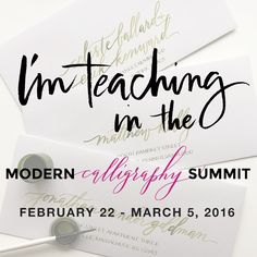 I can finally share my secret... I'm honored to be one of 9 calligraphers chosen to teach in the Modern Calligraphy Summit in February! It's such incredible group instructors. I truly admire all of them.  The summit will be a collection of online videos and discussions, so anyone around the world can participate. I'm teaching a course on envelope (and other) layouts, and will reveal special tricks and techniques that I've developed over the years. Early bird enrollment will open very soon…