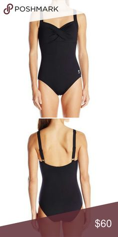 TYR Sport Black Solid Halter Controlfit Swimsuit ;94% Polyester, 6% Spandex ;Imported ;Fully lined one-piece swimsuit featuring single twist at bodice and wide adjustable straps TYR Swim One Pieces
