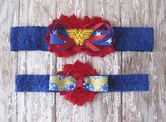 Wonder Woman Garter Set  Red Blue and Yellow by GeekyGarters