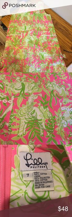 Lilly Pulitzer Girls Shift dress size 7 Lilly Pulitzer Girls Shift dress size 7.  Adorable pink and green jungle animal print.  I also have matching ladies pants to match thatbibwill post separately.  Excellent condition. Lilly Pulitzer Dresses Casual