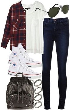 White tee with flannel, converse, and jeans