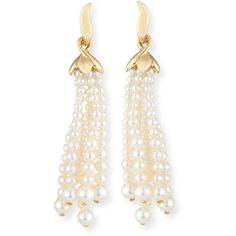 Utopia Pearl Tassel Clip-On Earrings (€3.205) ❤ liked on Polyvore featuring jewelry, earrings, 18 karat gold jewelry, clip-on earrings, pearl earrings, clip earrings and 18k jewelry