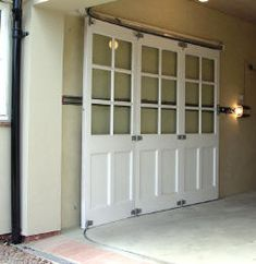 Round the corner garage door to avoid overhead clearance problem