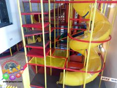 Commercial Playground and Play Structures is what we design, manufacture and install worldwide.  Here is a new playground structure which shows the spiral slide with clear windows. Kids love to slide. https://www.facebook.com/IPLAYCO #commercial #indoor #playground #equipment and #play #structures #playspaces #softplay
