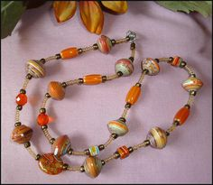 Necklace Hand Rolled Paper Beads and Glass Beads by TropicAccents