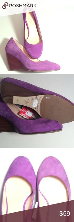 """COLE HAAN✨Purple Suede Wedges✨NWT These shoes are beautiful, but irregular. Priced accordingly. One seems ever so slightly lighter in color. I actually never noticed that until now, so it is slight. Size 6B. Heel is 3"""" and wood. Bottom is leather and non-slip material.  Writing on bottom of one shoe. Tag attached, no price. NICE! Suggested User, Fast Shipper! Cole Haan Shoes Wedges"""