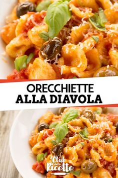Orecchiette alla Diavola - The Orecchiette alla Diavola is a tasty pasta dish prepared with Orecchiette, Tomato Puree, Olives, - Risotto, Gnocchi, Italian Recipes, Food To Make, Food And Drink, Cooking Recipes, Meals, Easy Snacks, Healthy Snacks
