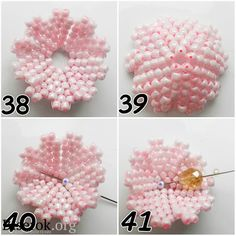 Step by step Pink Flower ~ Seed Bead Tutorials