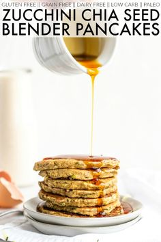 You'll love these Zucchini Chia Seed Blender Pancakes for an easy, seasonal breakfast or brunch. It's so simple to throw together in your blender! Zucchini Pancakes, Pancakes And Waffles, Breakfast Pancakes, Pancake Muffins, Waffle Recipes, Pancake Recipes, Keto Recipes, Healthy Recipes, Roasted Peppers