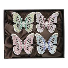 L'OBJET: Platinum 'Butterfly' Napkin Jewels set of 4