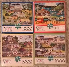 LOT OF 4 Charles Wysocki 1000 pc.  jigsaw puzzles w/posters. used once. - http://hobbies-toys.goshoppins.com/puzzles/lot-of-4-charles-wysocki-1000-pc-jigsaw-puzzles-wposters-used-once/