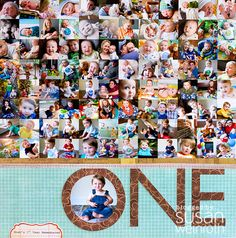 """ONE"" is another at-a-glance style recap page for Noah's baby book.  This is my all-time record at most photos on a single page - I think there were 97 when i tallied them all up!"