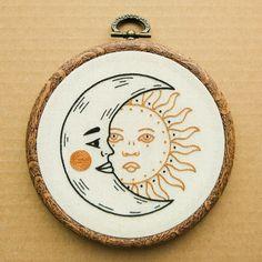Digital PDF pattern - Crescent Moon and Sun Hand Embroidery Pattern (PDF modern hand embroidery pattern)