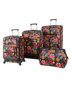 Another great find on #zulily! Lily Bloom Folky Floral Four-Piece Luggage Set by 24/7 #zulilyfinds